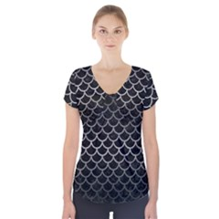 Scales1 Black Marble & Gray Metal 1 Short Sleeve Front Detail Top