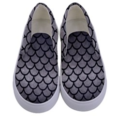 Scales1 Black Marble & Gray Metal 1 (r) Kids  Canvas Slip Ons