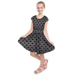 Scales2 Black Marble & Gray Metal 1 Kids  Short Sleeve Dress