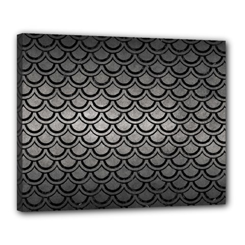 Scales2 Black Marble & Gray Metal 1 (r) Canvas 20  X 16