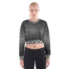 Scales2 Black Marble & Gray Metal 1 (r) Cropped Sweatshirt