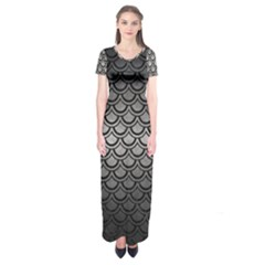 Scales2 Black Marble & Gray Metal 1 (r) Short Sleeve Maxi Dress