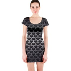 Scales3 Black Marble & Gray Metal 1 Short Sleeve Bodycon Dress