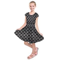 Scales3 Black Marble & Gray Metal 1 Kids  Short Sleeve Dress