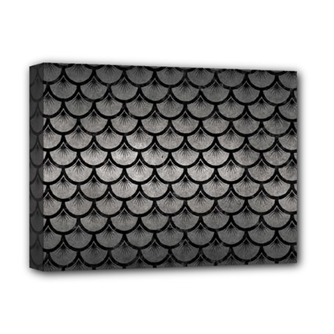 Scales3 Black Marble & Gray Metal 1 (r) Deluxe Canvas 16  X 12