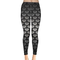 Scales3 Black Marble & Gray Metal 1 (r) Leggings
