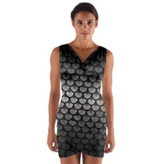 Scales3 Black Marble & Gray Metal 1 (r) Wrap Front Bodycon Dress