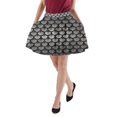 Scales3 Black Marble & Gray Metal 1 (r) A Line Pocket Skirt