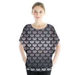Scales3 Black Marble & Gray Metal 1 (r) Blouse