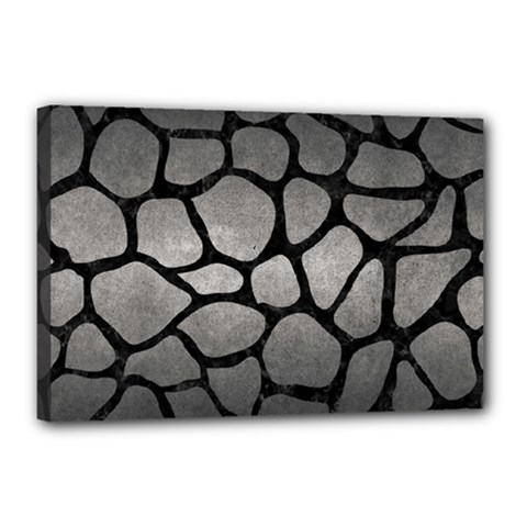 Skin1 Black Marble & Gray Metal 1 Canvas 18  X 12