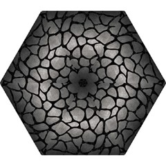 Skin1 Black Marble & Gray Metal 1 Mini Folding Umbrellas