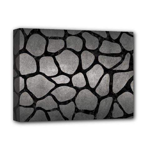 Skin1 Black Marble & Gray Metal 1 Deluxe Canvas 16  X 12
