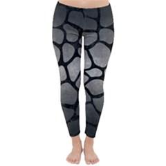 Skin1 Black Marble & Gray Metal 1 Classic Winter Leggings