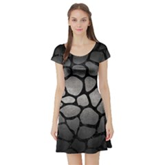Skin1 Black Marble & Gray Metal 1 Short Sleeve Skater Dress