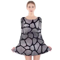 Skin1 Black Marble & Gray Metal 1 Long Sleeve Velvet Skater Dress