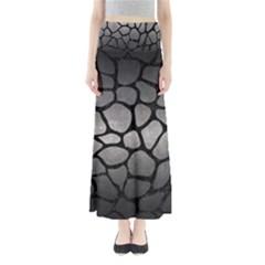 Skin1 Black Marble & Gray Metal 1 Full Length Maxi Skirt