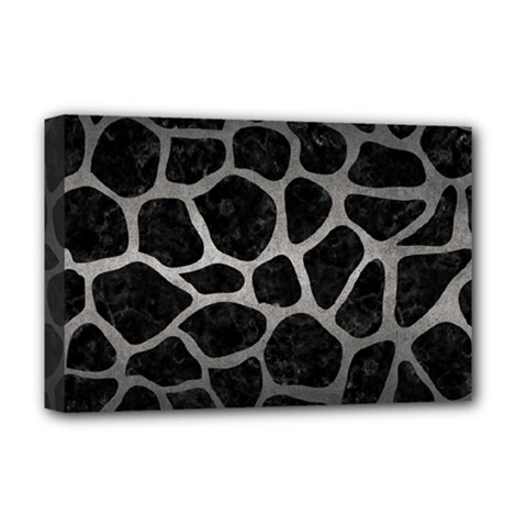 Skin1 Black Marble & Gray Metal 1 (r) Deluxe Canvas 18  X 12