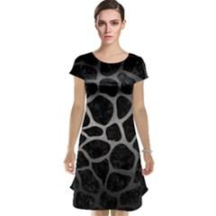 Skin1 Black Marble & Gray Metal 1 (r) Cap Sleeve Nightdress