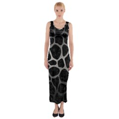Skin1 Black Marble & Gray Metal 1 (r) Fitted Maxi Dress