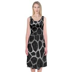 Skin1 Black Marble & Gray Metal 1 (r) Midi Sleeveless Dress