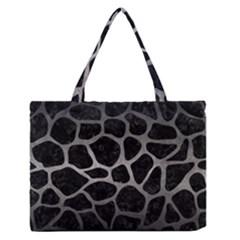 Skin1 Black Marble & Gray Metal 1 (r) Zipper Medium Tote Bag