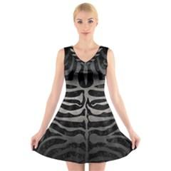 Skin2 Black Marble & Gray Metal 1 V Neck Sleeveless Skater Dress