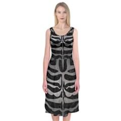 Skin2 Black Marble & Gray Metal 1 Midi Sleeveless Dress