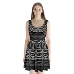 Skin2 Black Marble & Gray Metal 1 Split Back Mini Dress
