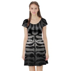 Skin2 Black Marble & Gray Metal 1 (r) Short Sleeve Skater Dress