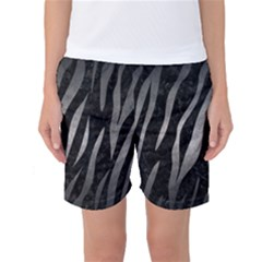 Skin3 Black Marble & Gray Metal 1 Women s Basketball Shorts