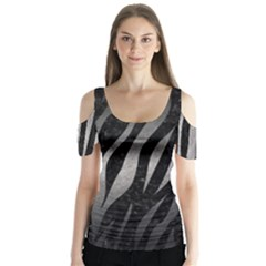 Skin3 Black Marble & Gray Metal 1 Butterfly Sleeve Cutout Tee