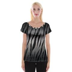 Skin3 Black Marble & Gray Metal 1 (r) Cap Sleeve Tops