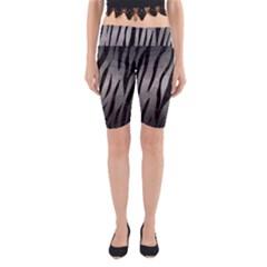 Skin3 Black Marble & Gray Metal 1 (r) Yoga Cropped Leggings