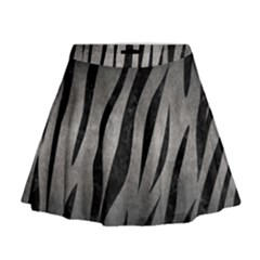 Skin3 Black Marble & Gray Metal 1 (r) Mini Flare Skirt