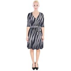 Skin3 Black Marble & Gray Metal 1 (r) Wrap Up Cocktail Dress
