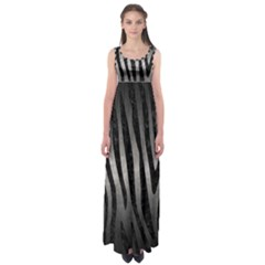 Skin4 Black Marble & Gray Metal 1 Empire Waist Maxi Dress