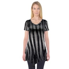 Skin4 Black Marble & Gray Metal 1 (r) Short Sleeve Tunic