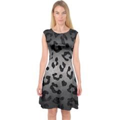 Skin5 Black Marble & Gray Metal 1 Capsleeve Midi Dress