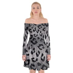 Skin5 Black Marble & Gray Metal 1 Off Shoulder Skater Dress