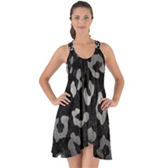 Skin5 Black Marble & Gray Metal 1 (r) Show Some Back Chiffon Dress