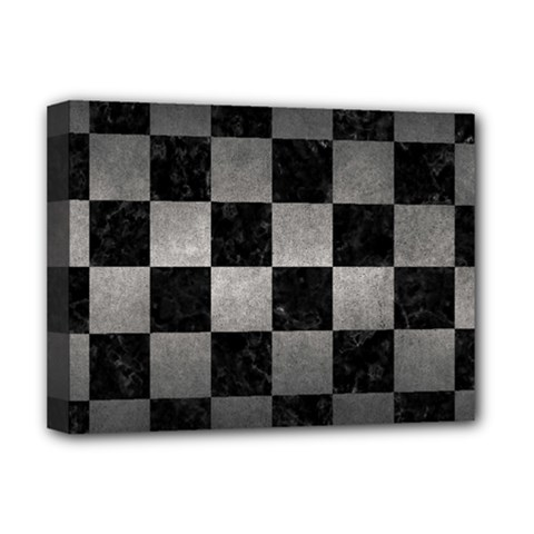 Square1 Black Marble & Gray Metal 1 Deluxe Canvas 16  X 12