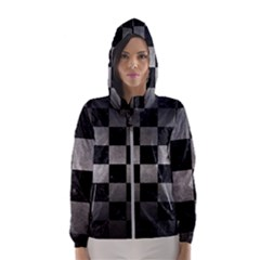 Square1 Black Marble & Gray Metal 1 Hooded Wind Breaker (women)
