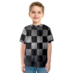 Square1 Black Marble & Gray Metal 1 Kids  Sport Mesh Tee
