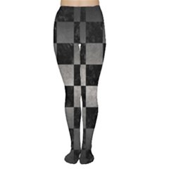 Square1 Black Marble & Gray Metal 1 Women s Tights
