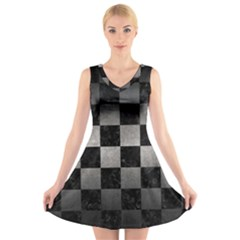 Square1 Black Marble & Gray Metal 1 V Neck Sleeveless Skater Dress