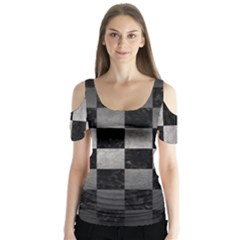 Square1 Black Marble & Gray Metal 1 Butterfly Sleeve Cutout Tee