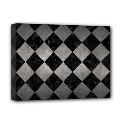 Square2 Black Marble & Gray Metal 1 Deluxe Canvas 16  X 12
