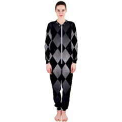 Square2 Black Marble & Gray Metal 1 Onepiece Jumpsuit (ladies)