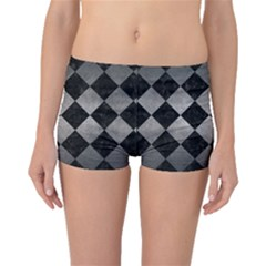 Square2 Black Marble & Gray Metal 1 Boyleg Bikini Bottoms
