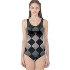 Square2 Black Marble & Gray Metal 1 One Piece Swimsuit
